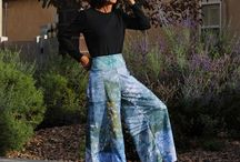 Color Creek Art2Wear / Color Creek's new clothing line. Wide pant gauchos, t-shirts and tank tops made from high quality polyester fabrics for easy to care and on the go clothing. Each piece is hand-dyed and printed so no two are alike. Unique, beautiful, practical wear.