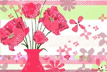 Illustrations of flowers for Greeting cards