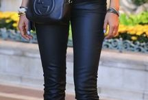 Women's black leathers