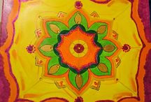 Mandala Art: yellow sparkling mandala / Mandala paintings