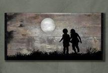 cuadro apto niños y luna