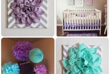 Purple, turquoise and gray nursery