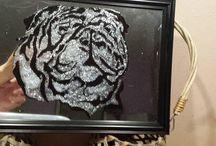 Honden spiegels / Deze spiegels heb ik zelf gemaakt met glas en lood verf