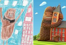 100 artists re-drawing of children's artwork