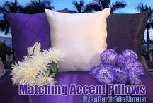 """Matching Pillows for our fabrics """"Accent Away"""" / We have just released pillows that match every fabric we sell in every color, accent or contrast your linen decor with Premier Table Linens pillows. Click on any product to view onsite."""