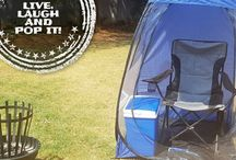 Live Laugh and Pop / Pop up tents for sunny and rainy days. enjoy our pop up tents during long evenings of fishing with 2 side windows that will protect you from mosquitos or take it to sport events to protect you from wind, rain or the sun.
