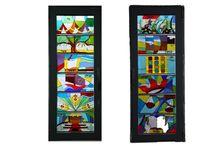 Windows 12 Tribes of Israel, חלונות 12 שבטי ישראל / 12 panel w 40 cm 20 cm, 6mm Windows in a synagogue in Rosh Ha'ayin Israel 12 פנלים משולבים בחלונות בית כנסת ראש העין ישראל