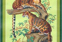 cross stitch :big cats/ borduren wilde katten