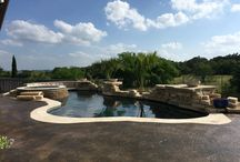 San Antonio pool with waterfalls and fire bowls