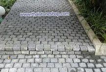 หินธรรมชาติ cobble stone สีเทา ขนาด 10x10 cm. หนา 5cm. ติดตั้งทางเดินเเละขั้นบันได ทางเข้าตัวบ้าน / หินธรรมชาติ cobble stone สีเทา ขนาด 10x10 cm. หนา 5cm. ติดตั้งทางเดินเเละขั้นบันได ทางเข้าตัวบ้าน งานบ้านลูกค้า ถ.พระราม 6 สวยดูเป็นธรรมชาติ เเข็งเเรง ทนทาน  www.thaistoneshop.com Tel:02-889-4997, 081-876-2527, 081-784-1661 e-mail: thaistoneshop@gmail.com