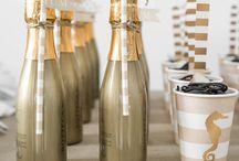 Złoty & czarny - dekoracje na przyjęcie / Inspiracje na przyjęcie urodzinowe, karnawał lub sylwestra w kolorystyce złotej