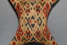 18th century flame stitch pincushions