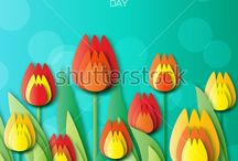 Tulip / Tulip. Flower. Floral Bouquet. Spring Tulips. Garden Flower. Greeting card with Tulip for girl, women, mother, grandmother. Invitation card. Paper cut style.  Colorful Origami flower.
