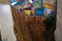 Stained glass log table