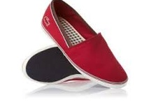 LACOSTE AIMARD RED CANVAS PLIMSOLLS AP SRM Shoes 7-25srm2246047