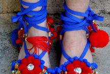 pom pom decorated sandals