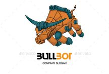 Bull Bot Logo Design / #logo #vector #bull #animal #coorporate #abstract #studio #character #game #mascot #tshirt