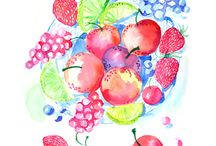 fruits and veggies / fruit, veggie and flower watercolors