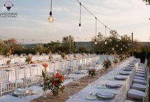 Wedding table / Wedding, Wedding table, Wedding setting, fairy light, cotton ball lights, rustic wedding, country wedding, open-air reception