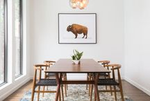 d i n i n g r o o m / Dining rooms with a cozy mid century modern vibe mixed with some minimalist design.