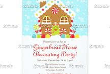 Gingerbread House Decorating Party Red / This collection features a sweet Christmas Winter Gingerbread house with candy canes and gumdrops. In the background is a bright  blue sky with falling snowflakes. Perfect for Gingerbread Decorating Parties or Christmas Open House. The colours consist of yellow, green, red and blue.