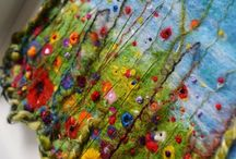 Handmade Felt / Wet-felted art and clothes... felting wool and silk from scratch.