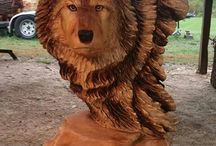 Wooden Wolf Carvings