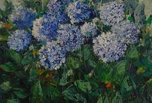 flowers seba art gallery / Spatül ile çalışılmış yağlıboya çiçek resimleri