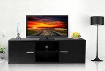 TV Stand Unit Modern Black Matte Cabinet Board Living Room Furniture High Gloss
