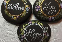 Inspirational words painted rocks