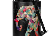 Bucket Bag - The Fortunate Elephant / Women Leather Handbags, Limited Edition Designer Leather Bag COLOURS OF MY LIFE - Limited Edition wearable art signed by Anca Stefanescu.