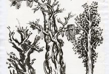"""Anthony Lombardi Ink Paintings / These works are done in traditional Chinese style following the teaching from """"The Mustard Seed Garden Manual of Painting""""."""