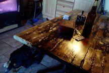 wood table Vintage tyrkys