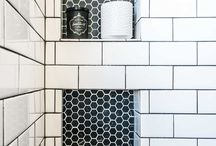 bathroom reno / black and white colour scheme