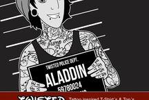 Twisted / Twisted Alice im Wunderland, Mad Hatter, Schneewittchen, Aladdin, Cruella Damen & Herren Top´s & T-Shirts