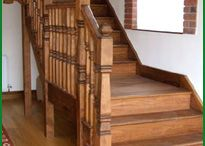 Hemlock Staircases / Stairs made with parts made from beautiful Hemlock. Hemlock is a straight-grained clear, knot free timber. It is especially attractive since it will varnish to a rich golden colour. Hemlock is of uniform density and will take stain easily with the minimum of colour distortion; it is easy to use and does not split or break whilst being worked, being less brittle and therefore stronger than many hardwoods.