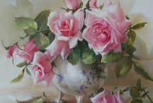 Ζωγραφική - Τριαντάφυλλα / Τα αγαπημένα τριαντάφυλλα με το πινέλο του ζωγράφου