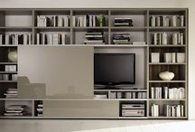 """Huelsta's """"Mega-Design"""" collection. / One of the strengths of Huelsta's """"Mega-Design"""" is its flexibility! Innovative functions, new options, and attractive finishes leave plenty of scope for individual combinations. This allows you to add your own unmistakable style to this living room, shelving, and library system (capable of housing audiovisual equipment)."""