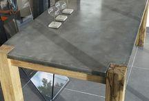 Table zinc et bois table de cuisine avec dessus zinc - Comptoir de famille table ...