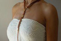 Leather necklace. Δερμάτινο κολιέ. Кожаное колье. / https://www.instagram.com/jewellery_my_self/