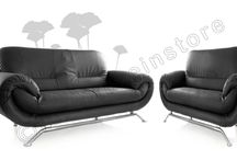 Nina Black Faux Leather Settee Couch 2 1 Sofa Set