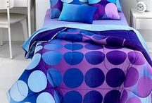 Purple and Blue Polka Dot Comforter and Bedding / My penchant for purple and blue polka dot comforters and bedding is now 'materialized'--who knew?