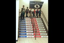 Stair Graphics - Decorate & Communicate On Steps! / We can custom print self adhesive graphics to decorate steps or stairs. Marking steps or stairs with graphics is a cool way to communicate messages - whether it's advertising, inspirational, or decorative. Our graphics are high resolution and printed on heavy duty rubber, good for indoor or outdoor steps.