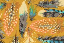 Trends - Feathers / Trending:  Birds of feather, stick together.  Love the graphic shapes, bold colors and design!