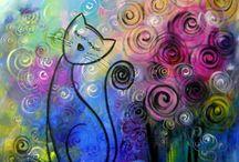 Gatos por Katia Almeida / Pinturas em tela com tema de gatos.Quadros para decoração.