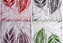 Lino cut leaves