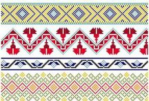 Cross borders / All kinds of geometric figures, patterns, motifs on textiles, beaded designs, rugs, quilts and what nots with straight lines fitting on the canvas of cross stitch. / by Nand Tilwani