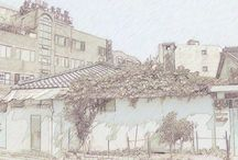 Pencil drawings of Architecture