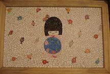Meus trabalhos / Mosaico com pastilhas e casca de ovo