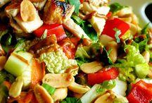 Dinner satay chicken salad